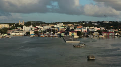 Antigua St Johns harbor departure shoreline HD 1334 Stock Footage