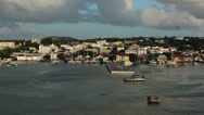 Stock Video Footage of Antigua St Johns harbor departure shoreline HD 1334