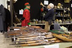 guns and helmets - stock photo