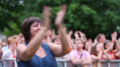 Music fans at a concert of Chaif band in Hermitage Stock Footage
