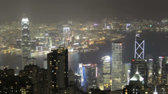 The magnificent Hong Kong harbour at night Stock Footage