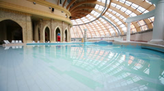 Wave pool on the first floor of entertainment complex Caribia Stock Footage