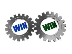 win win in silver grey gearwheels - stock illustration