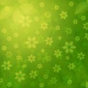 Striped flowers in green old paper background Stock Illustration