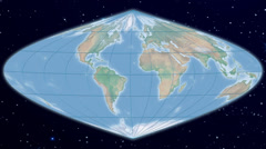Sinusoidal world map projection - natural earth Stock Footage