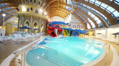 Pool with water slides at the waterpark Caribia Stock Footage