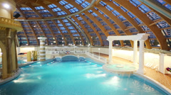 Pool at a water park Caribia at evening. Stock Footage