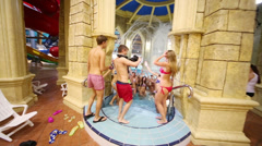 Shooting music video of group Out Of Space in waterpark Caribia Stock Footage
