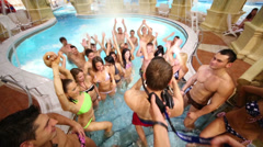 Shooting clip of group Out Of Space in a leisure center Caribia Stock Footage