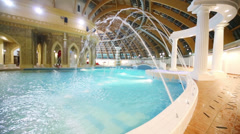 Water jets in the pool in the waterpark Caribia. Stock Footage