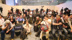 Journalists at the Second International Forum - stock footage