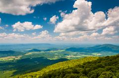 view of the blue ridge mountains and shenandoah valley from south marshall, i - stock photo
