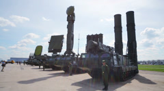 Elements of anti-aircraft missile system S-300V Stock Footage
