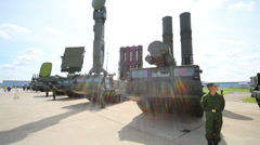 Military self-propelled anti-aircraft missile system S-300V Stock Footage