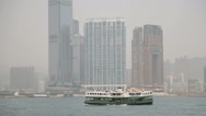 Stock Video Footage of A ferry crossing Hong Kong harbour to Kowloon