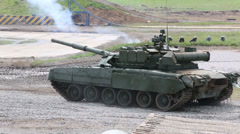 Battle tanks T-90A and T-80U on show Invincible and Legendary Stock Footage