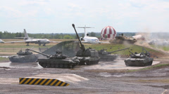 Figure of tank ballet - Tornado with tanks Stock Footage