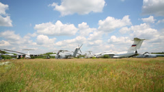 Airplanes released from service in Zhukovsky air shows Stock Footage