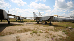 Fighter aircraft released from service in Zhukovsky Stock Footage