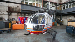 Centrospas helicopter in a large hangar in Zhukovsky - stock footage