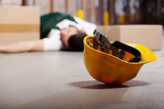dangerous accident during work - stock photo