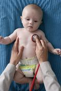 Auscultation, infant Stock Photos