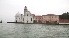 Traveling on vaporetto near San Giorgio Maggiore island, Venice, Italy - stock footage