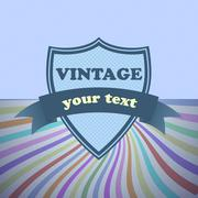 shield retro vintage label on sunrays background - stock illustration