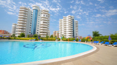Beautiful exterior of the My Marine Residence with swimming pool Stock Footage