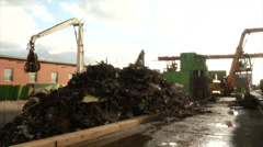 Fabrika metal processing-loading cranes in stock Stock Footage