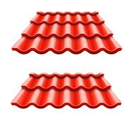 Red corrugated tile element of roof Stock Illustration