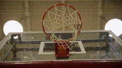 Basketball Hoop from Below, Zoom Out Stock Footage