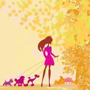 Girl walking with her dog in autumn landscape. Stock Illustration