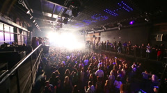 Wide top view to crowd of people on concert of Arash on stage Stock Footage