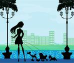 Stock Illustration of pretty girl walking the dogs