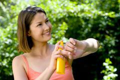 Shielding from sunburn Stock Photos