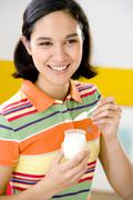 Adolescent, dairy product Stock Photos