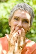 Elderly person outdoors Stock Photos