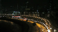 Marine Drive at night in Mumbai, India Stock Footage