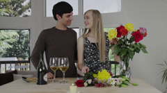 Young Couple Arrange Flowers - stock footage
