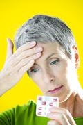 pain treatment, elderly person - stock photo