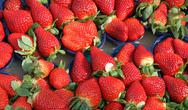 Stock Photo of ripe strawberry cups for sale at vegetable market