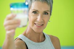 elderly person, dairy product - stock photo