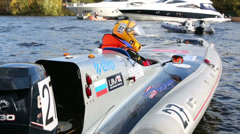 Back view on sport boat at Powerboat Race Show 2012 - stock footage