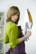 woman doing housework - stock photo