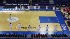 The team doing exercises before the play basketball Stock Footage