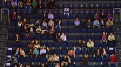 Stock Video Footage of People on rostrum on game during Olympiakos and Lokomotiv-Kuban