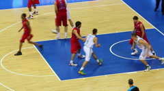 game Olympiakos and Lokomotiv-Kuban teams play basketball - stock footage