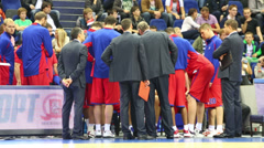 Olympiakos and Lokomotiv-Kuban teams play basketball Stock Footage
