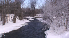 Winter scene of water and snow. #01 - stock footage